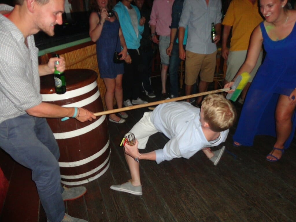 Limbo competition in full swing in Malibu as the night got weirder and wilder with The Big Sail in Poros!