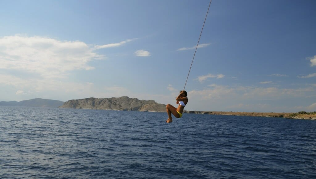 Halyard swinging off our charter yacht with The Big Sail