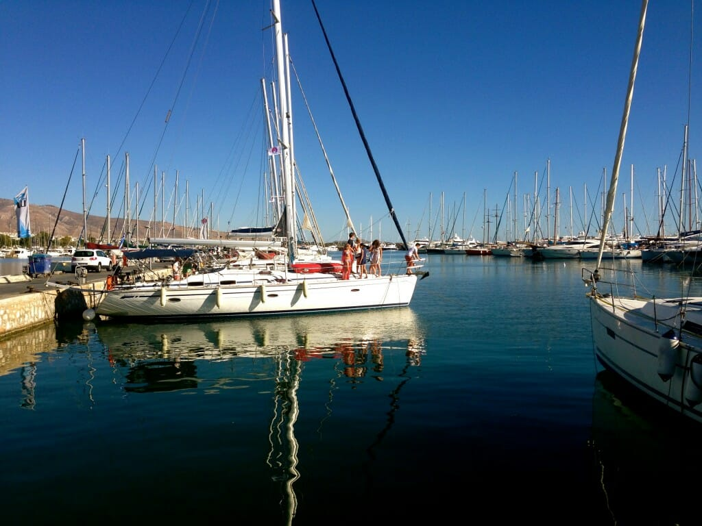 First morning with The Big Sail - setting sail for Aegina
