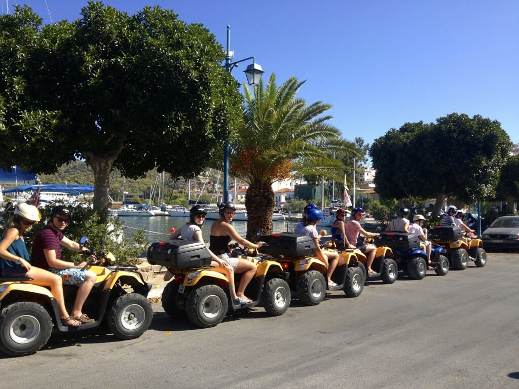 Starting grid – the entire group took to quads & mopeds to explore the beautiful island of Poros